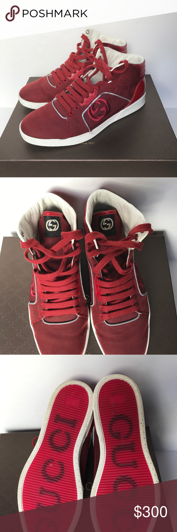 Men's Red Lace Up Gucci Sneakers Men's
