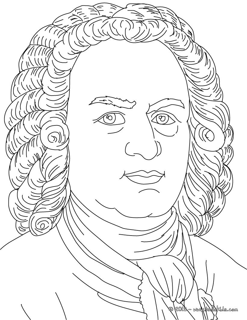 johan sebastian bach famous german composer coloring page music