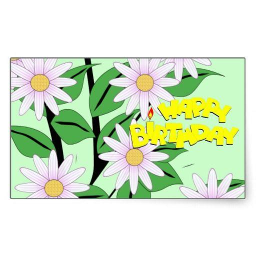 "Upsy Daisy Rectangular ""Happy Birthday"" Stickers"