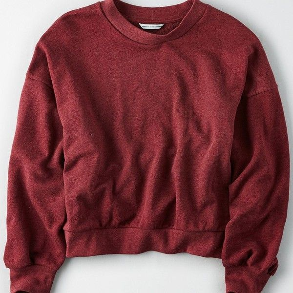 70fb89b3467cc AE Oversized Drop Armhole Crew Neck Sweatshirt ($30) ❤ liked on Polyvore  featuring tops, hoodies, sweatshirts, red, red crewneck sweatshirt, ...