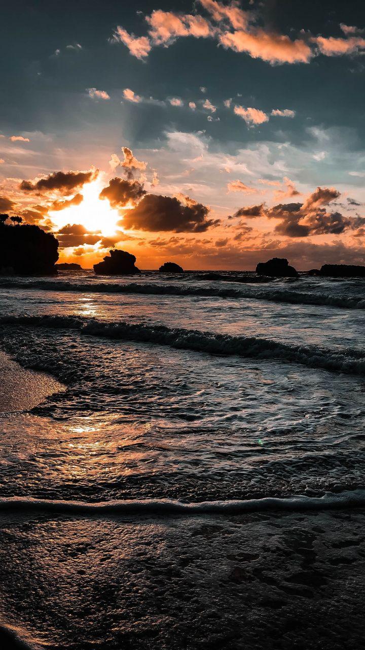 Coast Sea Waves Close Up Sunset 720x1280 Wallpaper Sunset Wallpaper Beautiful Nature Wallpaper Ocean Wallpaper