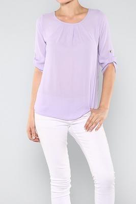Cinnaryn Pleated Solid Top in Lavender