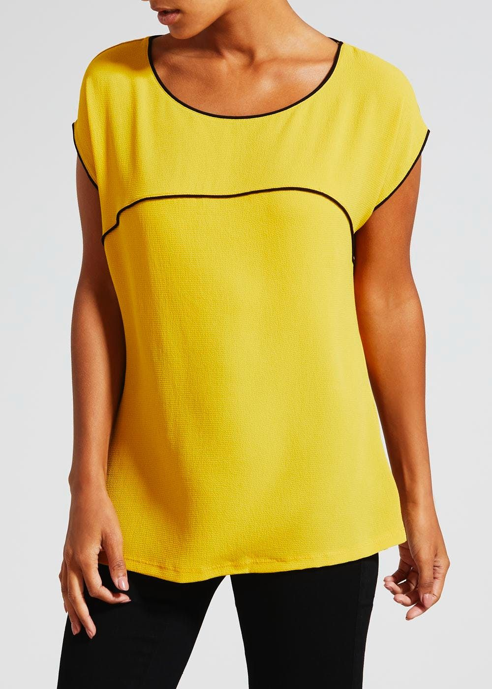 1a9e8ddcbef Add a pop of bold colour to your work to weekend top-picks. This vibrant  yellow woven front top is crafted with a soft jersey back and features  contrast.
