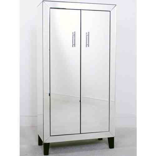 MIRRORED GLASS 2 DOOR DRINKS CABINET TALL STORAGE CUPBOARD ...