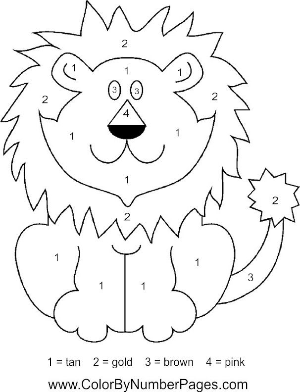 Jungle Animals Coloring Pages Preschool : Lion color by number page dierentuindieren knutselideeën