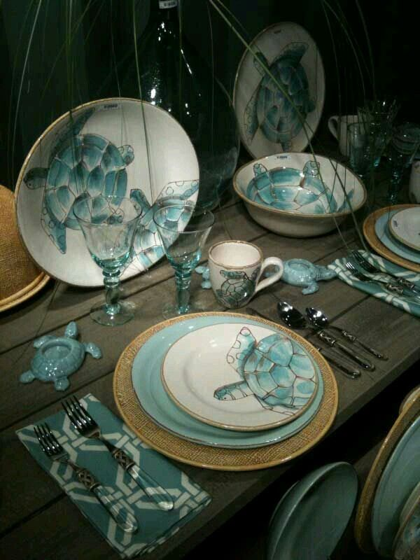Coastal decor & Pin by Hanging Gardens on Tablescapes / China   Pinterest   Turtle ...