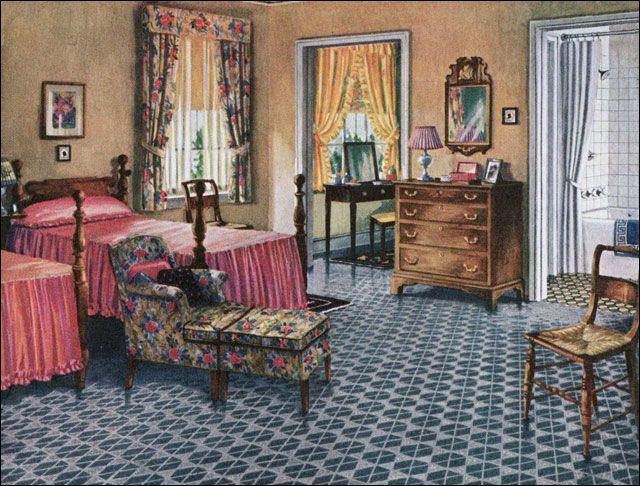 1926 Blabon Bedroom Design 1920s Design Inspiration Home Decor Vintage Home Decor Bedroom Vintage