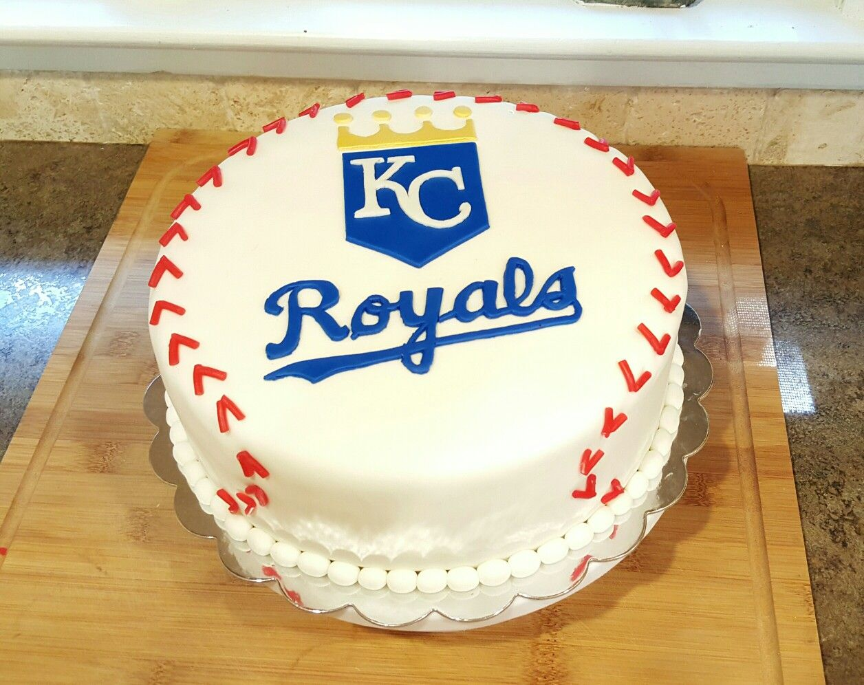 Astonishing Kansas City Royals Fondant Cake Baseball Birthday Cakes Cake Funny Birthday Cards Online Elaedamsfinfo