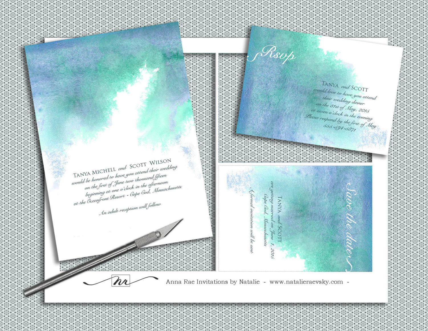printable watercolor wedding invitation template diy painted blue