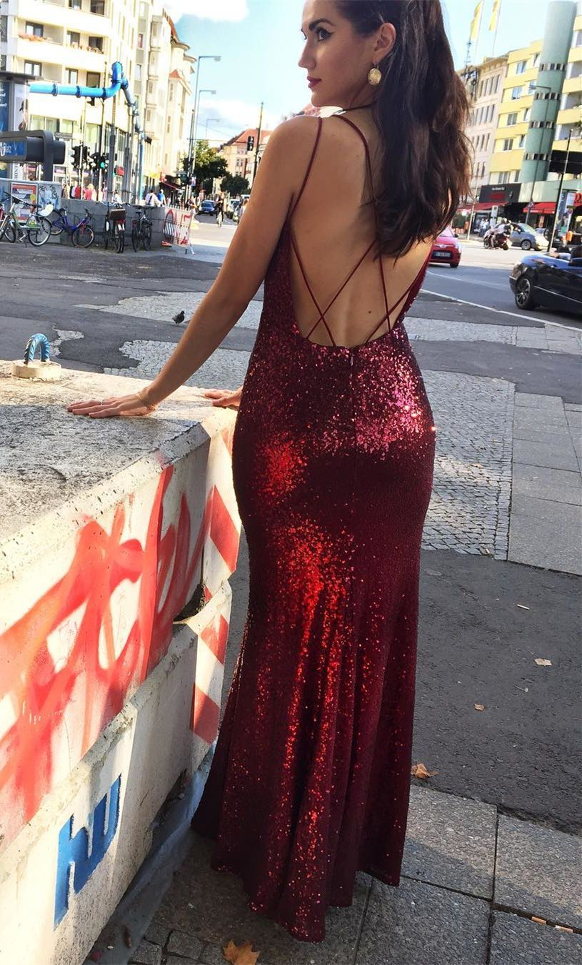Mermaid spaghetti straps backless long red sequined prom dress in