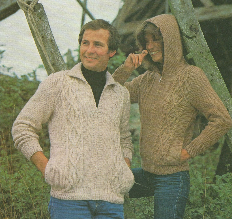 5bda18cc0 PDF Ladies   Men s Hooded Aran Jacket Knitting Pattern   34 - 44 inch chest  . Hoodie . Zip Front Cardigan . Instant Digital Download by  PDFKnittingCrochet ...