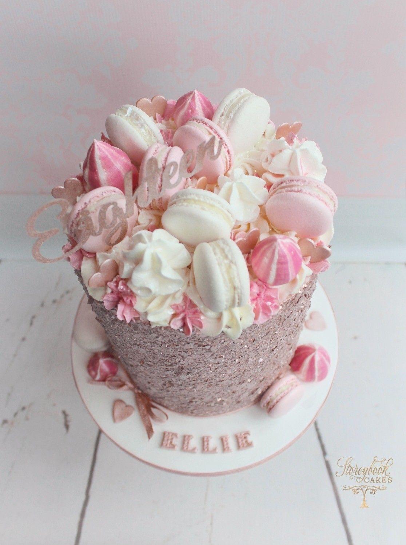 Rose Gold Birthday Cake Rose Gold Glitter Cake Macaron