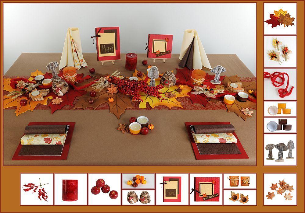 Tischdeko Herbst 5 In Braun Orange Als Mustertisch Tafeldeko De
