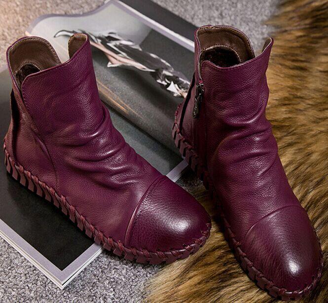 Sepatu Kulit Asli Sepatu Pendek Ditambah Velet Musim Dingin Wanita