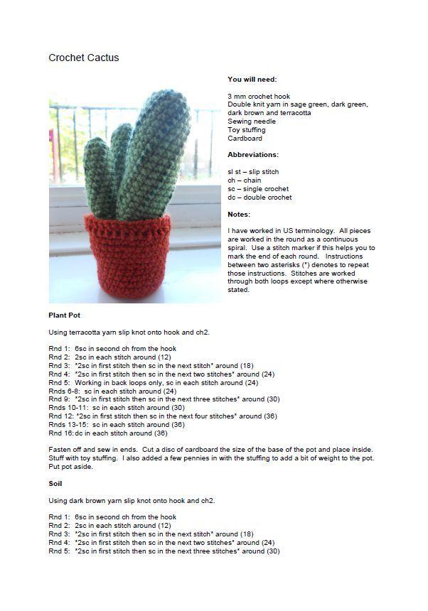 PATRON GRATIS CACTUS AMIGURUMI 9289   Cactus, hongos y plantas ...
