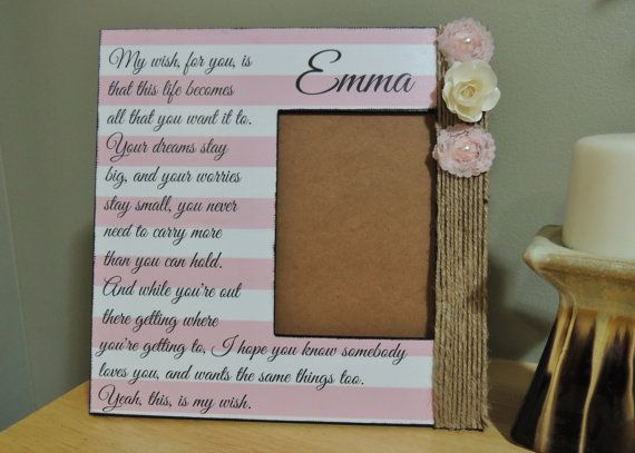 Personalized Picture Frame With The Song Lyrics From My Wish By