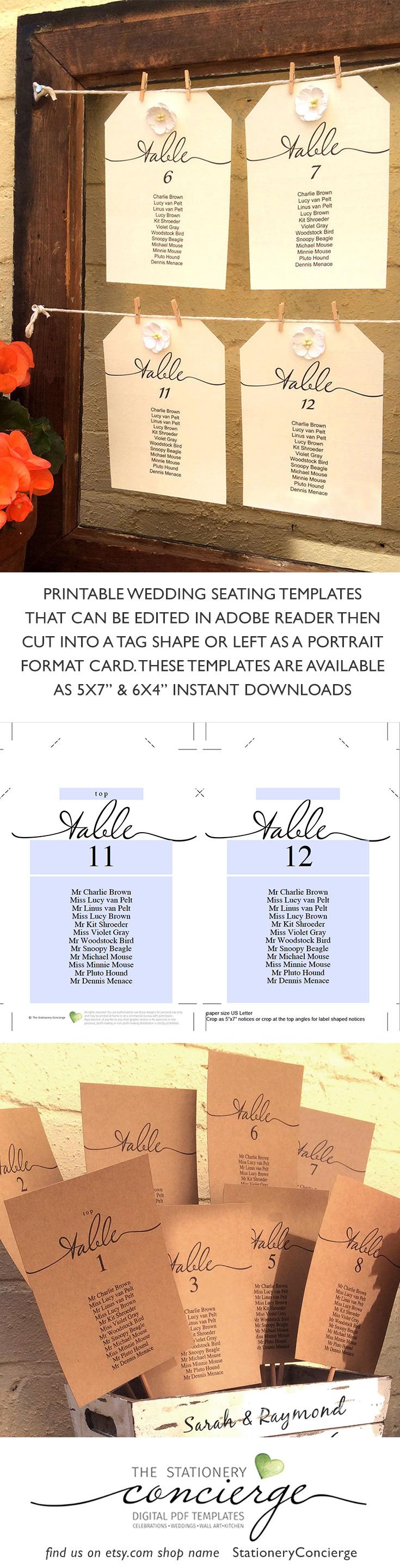 Elegant Long Individual Table Wedding Seat Chart Script Font Etsy Seating Chart Wedding Wedding Table Seating Seating Chart Wedding Template