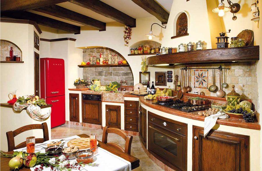 30 cucine in muratura rustiche dal design classico for Arredamento rustico italiano
