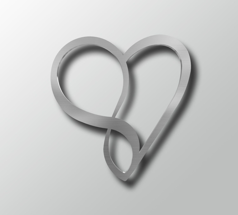 Infinity Heart Metal Wall Art, Heart Wall Decor, Modern