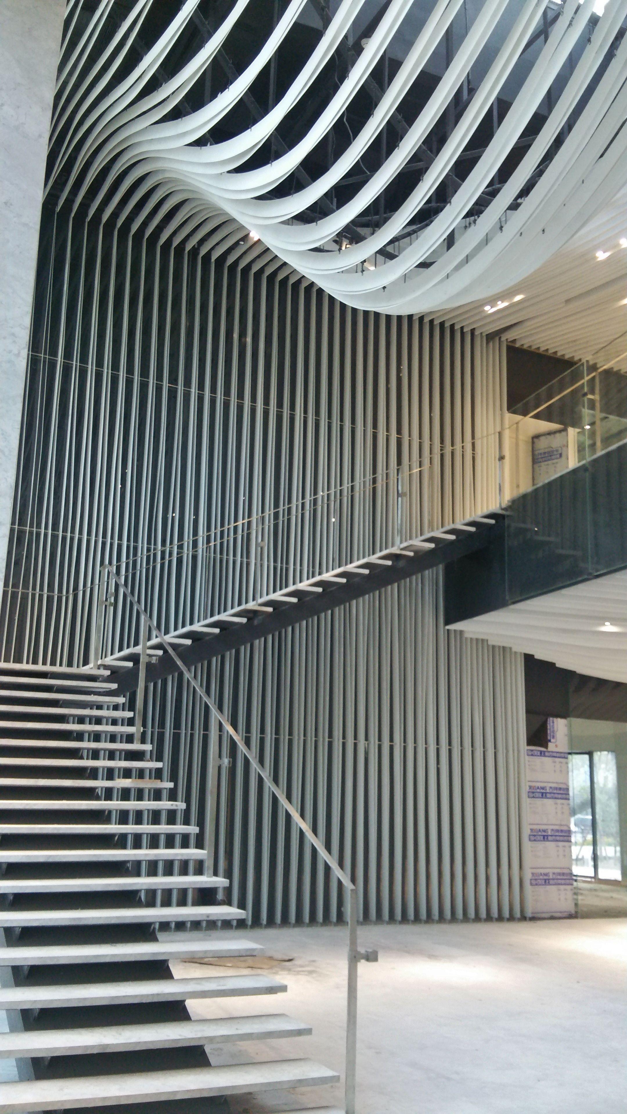 Public stairs in the lobby of Hongkou SOHO Building in Shanghai - Kengo Kuma