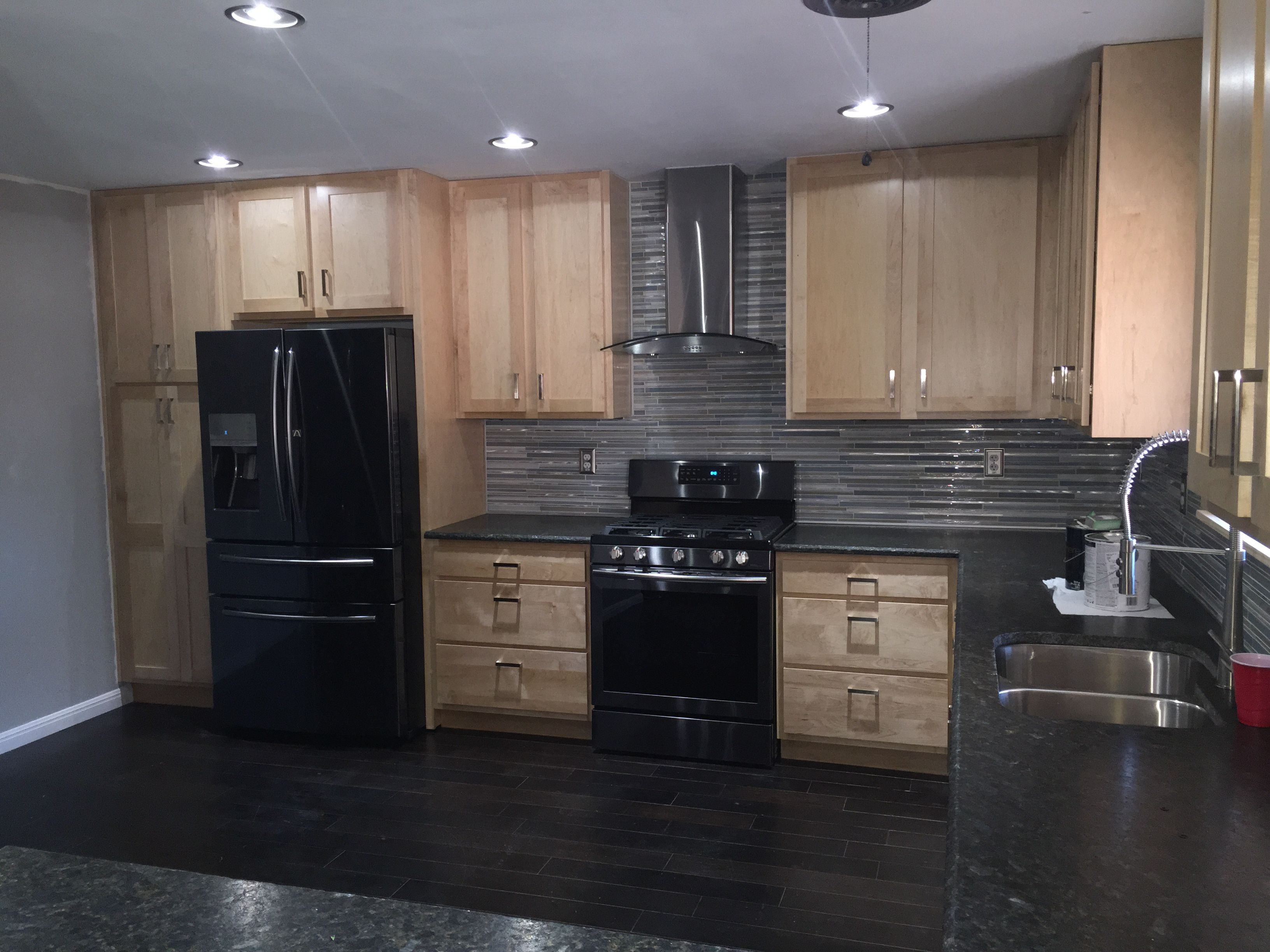 Black Stainless Steel Kitchen Hand Painted Backsplash Tiles Almost Done Refrigerator Stove Range Hood Excuse The