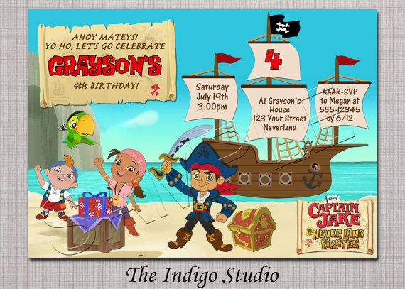New Captain Jake And The Neverland Pirates Birthday Party Invitation You Print