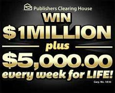 pch com $ 5,000 A Week For Life Sweepstakes | Projects to trying