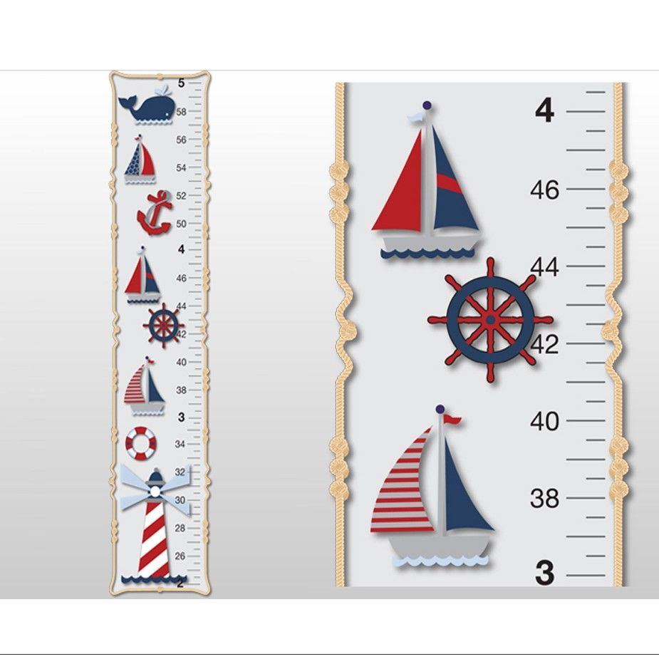 nautical boat whale light house growth chart for children boys