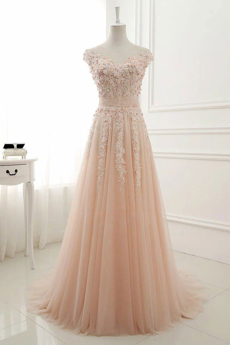 Pink round neck lace applique tulle long prom dress tulle evening