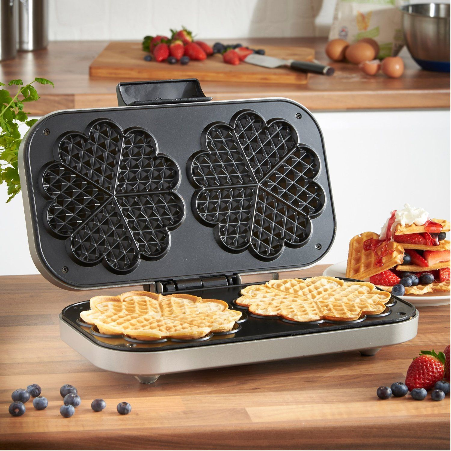 VonShef Double Waffle Maker 1300W, NonStick with