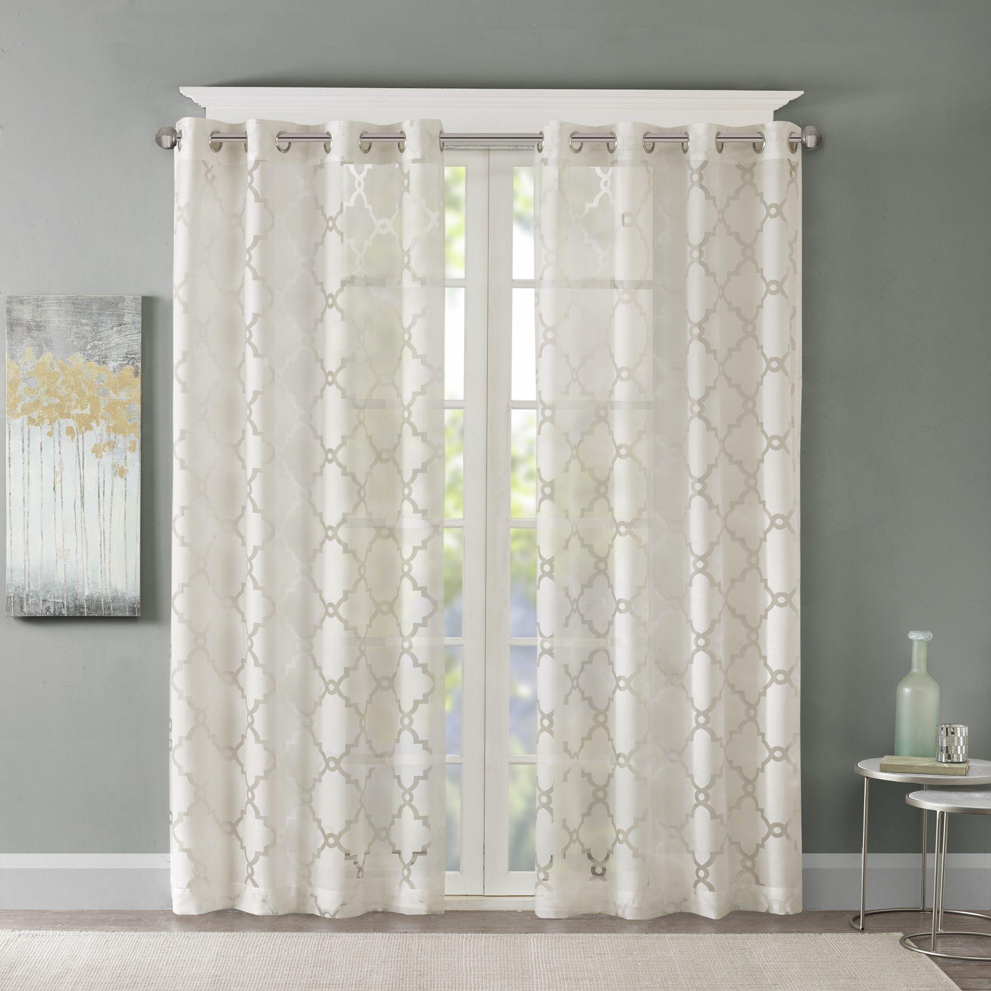 Madison Park Laya Fretwork Burnout Sheer Curtain Panel Panel