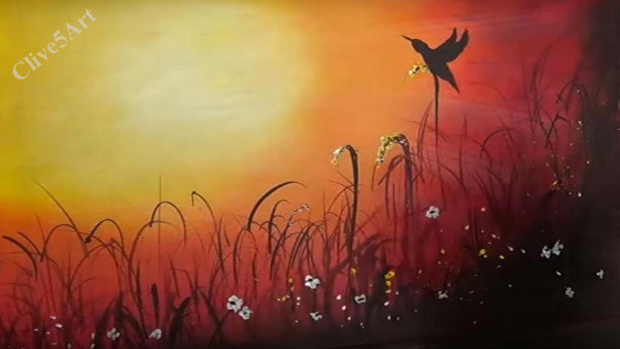 Sunset bird easy lesson acrylic painting for beginners for How to paint with acrylics for beginners