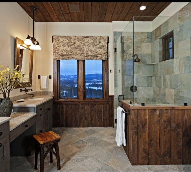 Slate Bathroom Modern Bathrooms And Rustic: Rustic Bathroom Designs, Rustic Bathrooms, Lake House Bathroom