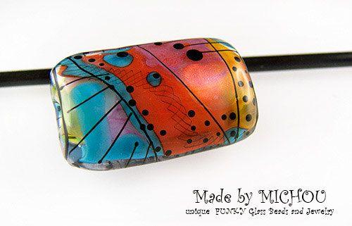 New Modern  Art Glass focal bead by Michou P. by michoudesign