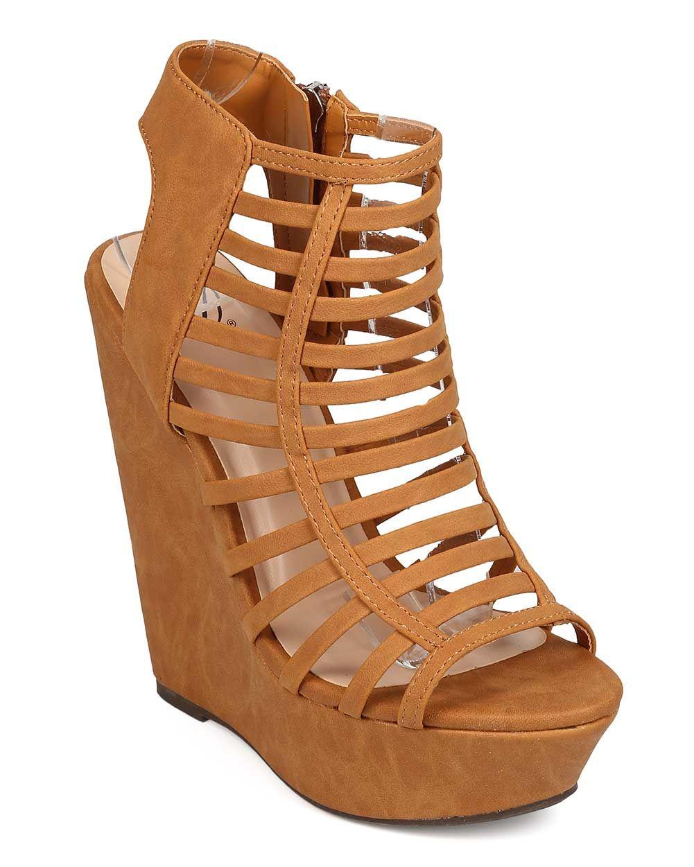0883af50eb9 New Women Delicious Euphony-S Nubuck Peep Toe Caged Platform Wedge ...