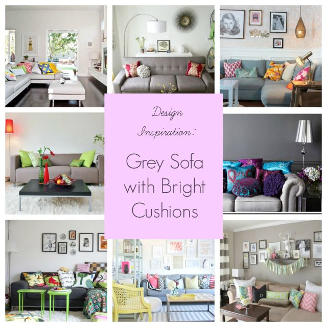 Design Inspiration :: Grey Sofa with bright cushions | lounge ...