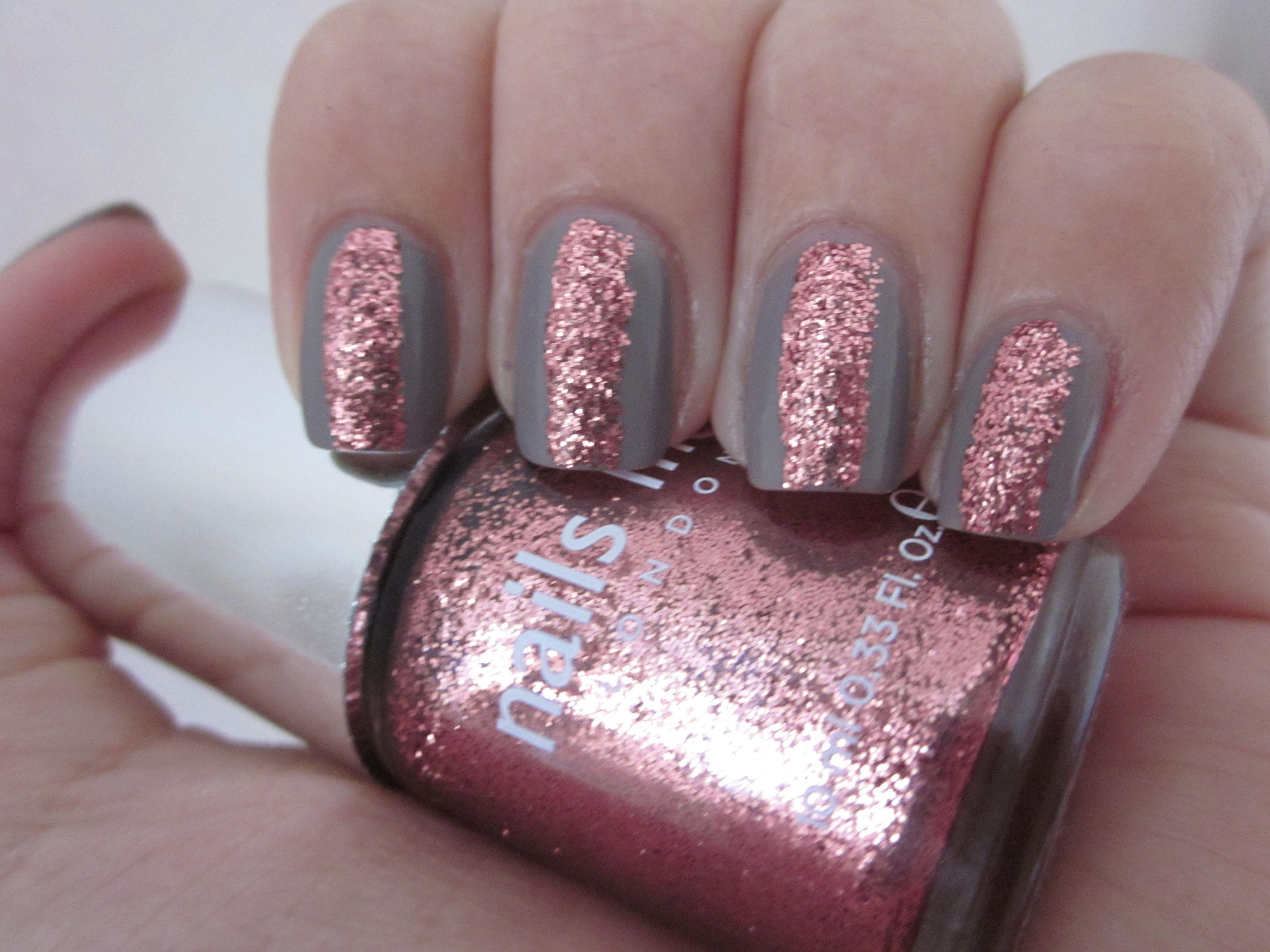 Nail art glitter Nails inc Chelsea Square on Essie Miss Fancy pants ...