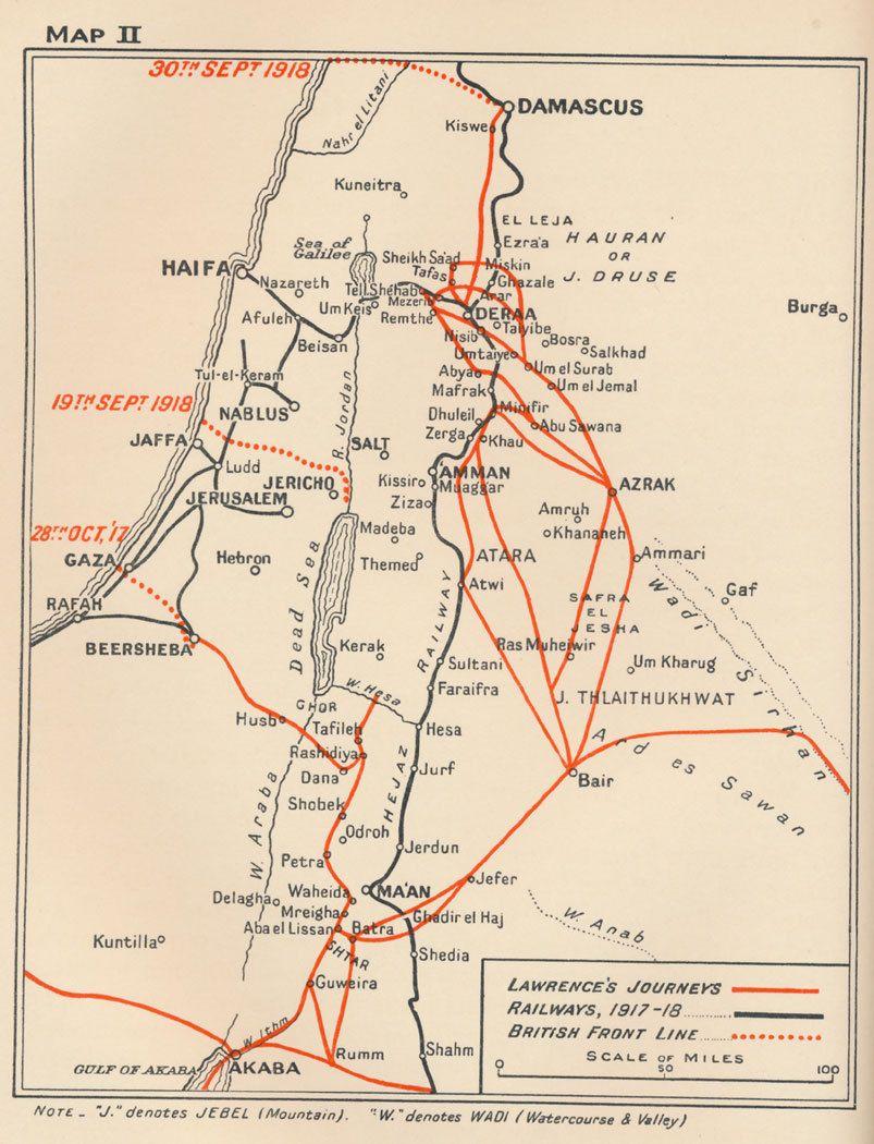 Te Lawrence Map T. E. Lawrence of Arabia