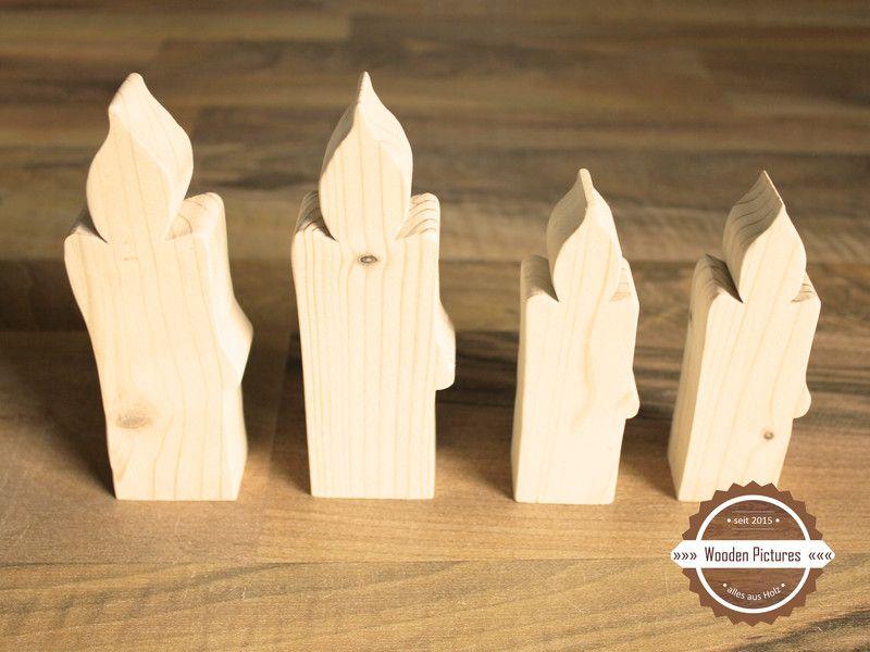 4er Set Kerzen Aus Holz Von Wooden Pictures Auf Dawanda Com