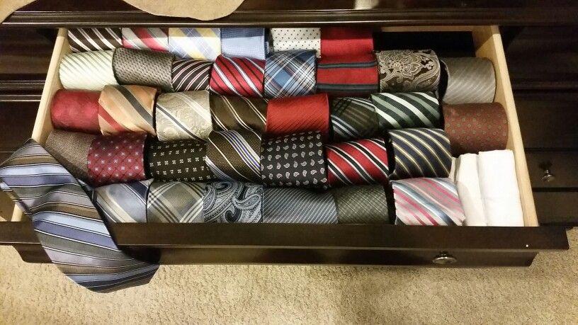 Tie organization in skinny drawers