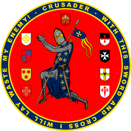 Features the image of a crusader in the center, then along the left side are the coat of arms of the crusader states and along the right side the coat of arms of the Holy Orders. Above the crusader is the coat of arms of the papal states.