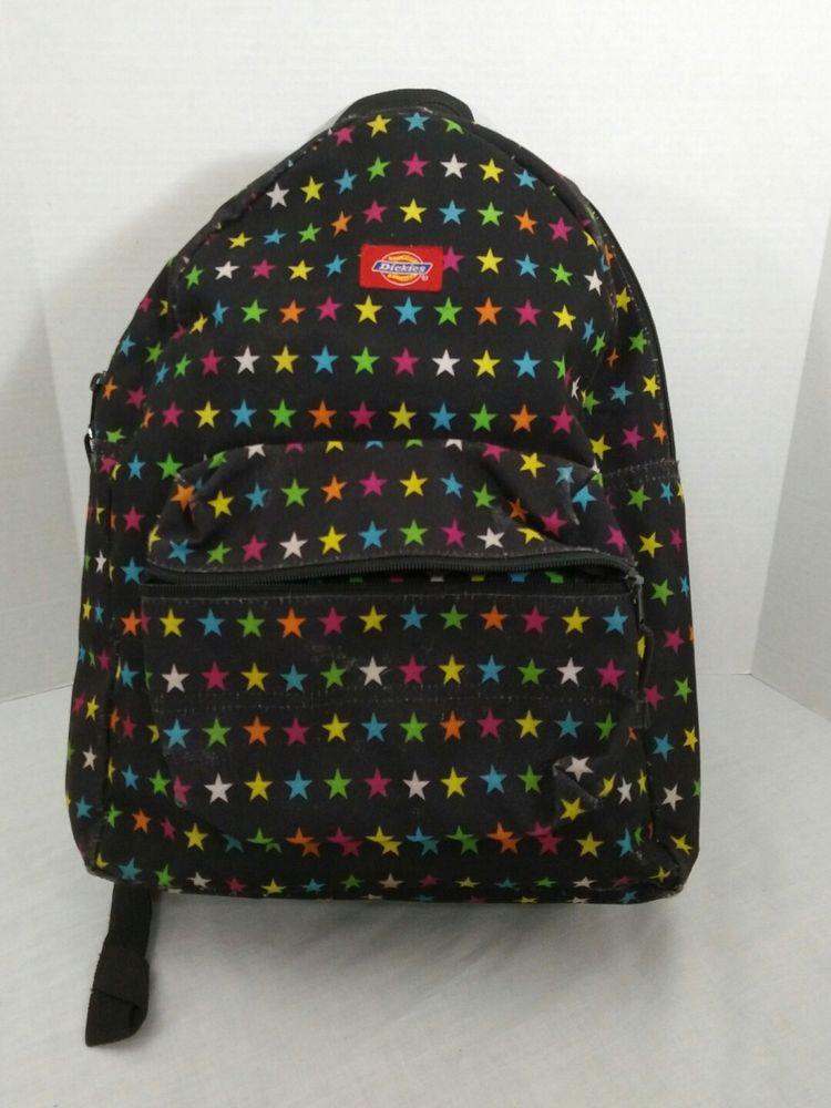 Dickies Backpack Yak Pak Book Bag Adjustable Straps Black With Multi Color  Stars  Dickies  Backpack 3195fe224fac