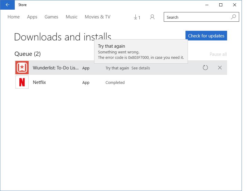 Windows Store Issue Error Code 0x803f7003 on Windows 10