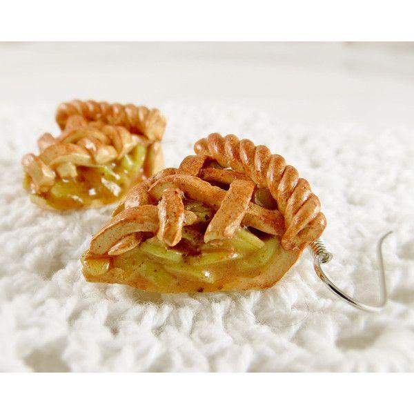 Apple Pie Earrings Polymer Clay Charm Jewelry Kawaii Accessory Lolita... (£7.62) ❤ liked on Polyvore featuring jewelry, clay charms, mini charms, clay jewelry and charm jewelry