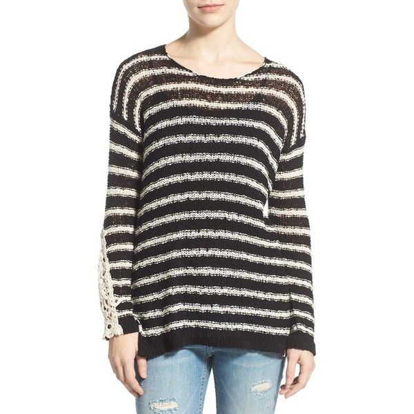 Junior Rip Curl 'Stardust' Crochet Trim Stripe Hooded Pullover (€64) ❤ liked on Polyvore featuring tops, black, black pullover, low scoop neck tops, long sleeve lace top, scoop neck top and striped top