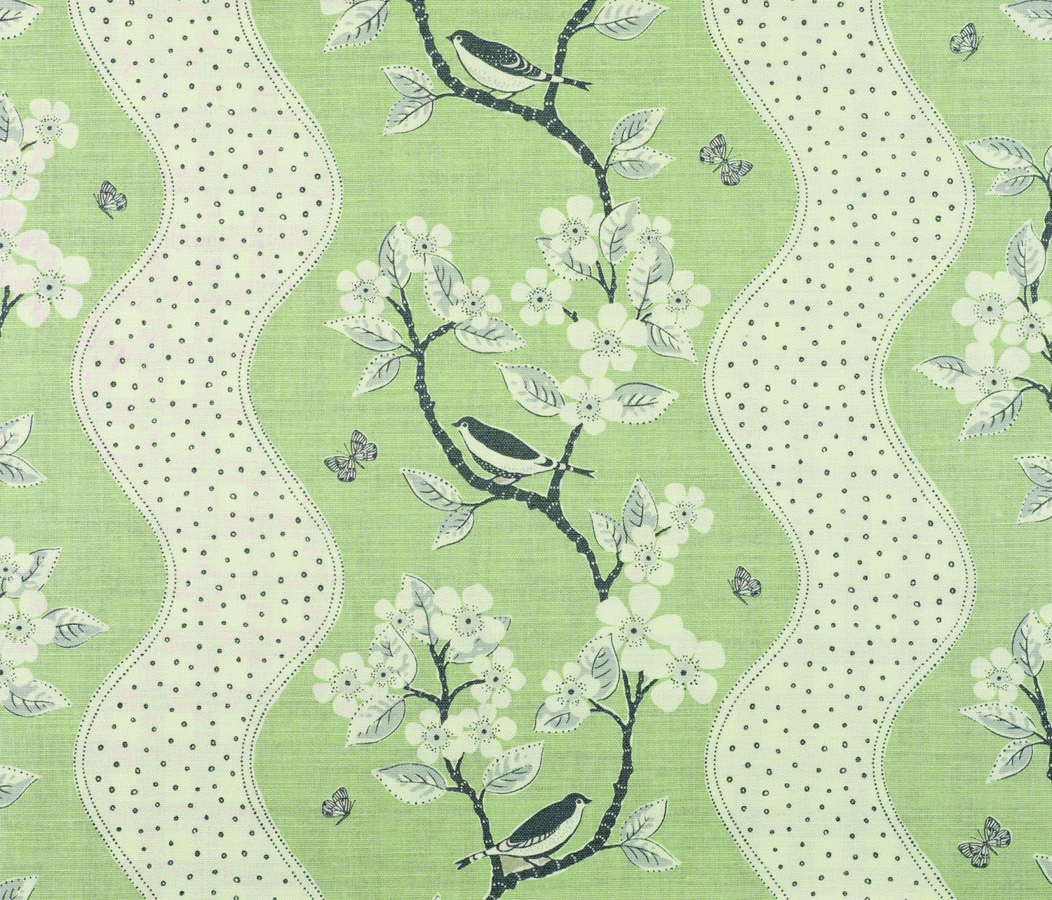 Song Birds - Lettuce , Clay , Charcoal - Linen Union Vanessa Arbuthnott #naturalcurtaincompany #green
