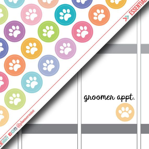 Paw Print Planner Stickers - Icon - Erin Condren Life Planner - Happy Planner - Dog Groomer - Vet - Pet - Cat - Animal - Matte or Glossy
