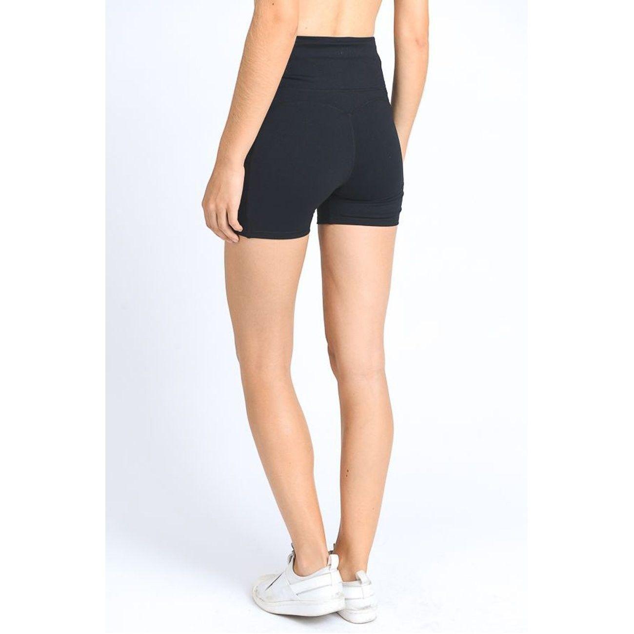 Women's High Waist Tummy Control Workout & Training Shorts - Black - CK18E43NA8T - Sports & Fitness...