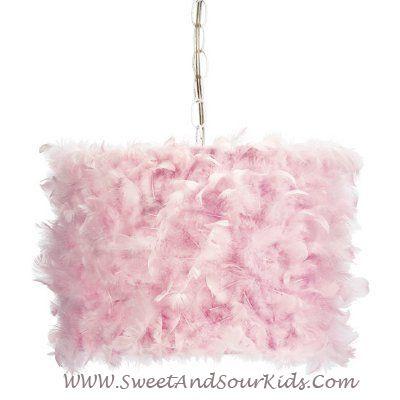 Fabulous Girls Bedroom Lighting Drum Shade Pink Feathers Drum