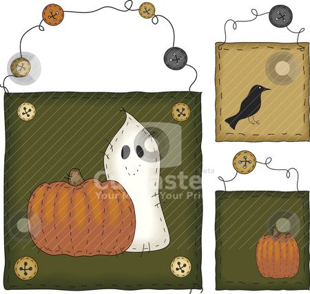 free primitive clip art | Primitive Folk Art Halloween Set stock ...